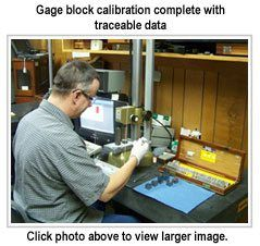 Gage block calibration complete with traceable data