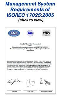 Management Systems Requirements of ISO/IEC 17025:2005