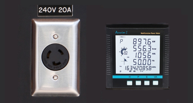 240V Receptacle & Power Analyzer Readout