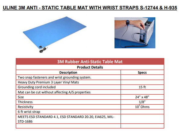 Motor Test Bench Top Mat with Wrist Straps