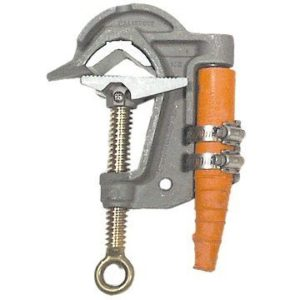 Salisbury 1921 2.4'' Aluminum ''C'' Type Grounding Clamp with Serrated Jaw and Flat Lower Jaw - Acme Thread