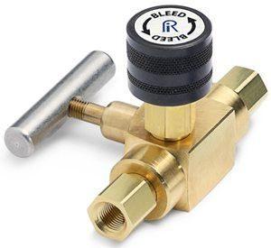 """Block & bleed valve - 1/4"""" female NPT inlet x 1/4"""" female NPT outlet, brass"""