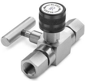 """Block & bleed valve - 1/4"""" female NPT inlet x 1/4"""" female NPT outlet, S.S."""