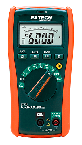 Extech EX363 HVAC Multimeter with Non-Contact Voltage Detector & Type-K Temperature Function