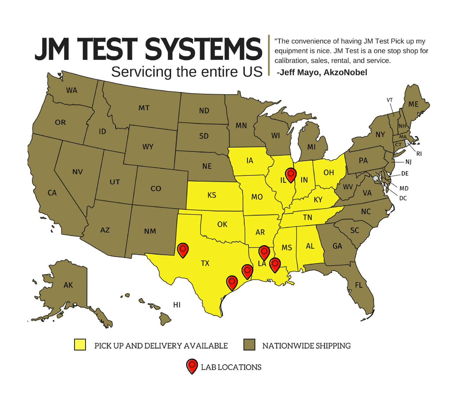 JM Test Systems Pickup and Delivery Map