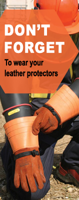 Leather protectors for high voltage gloves