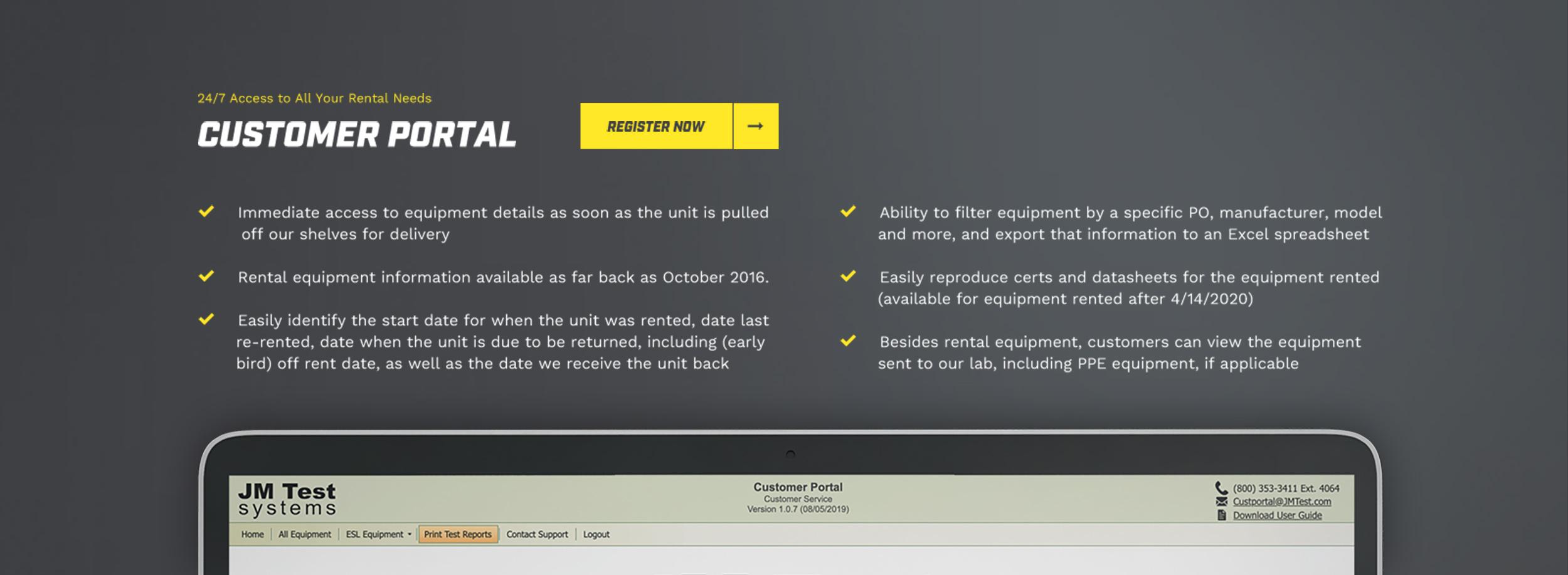 Test equipment rental custom portal database